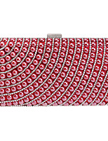 Women Evening Bag Polyester All Seasons Wedding Event/Party Formal Baguette Rhinestone Clasp Lock Rainbow Red Champagne Blue