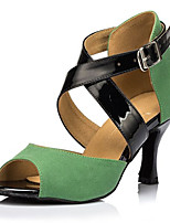 Women's Latin Flocking Sandals Performance Criss-Cross Cuban Heel Black/Green 2
