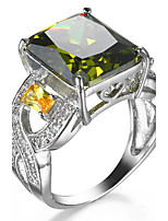 Ring Women's Euramerican Luxury Elegant Square Olive Green Rhinestone Zircon Ring Daily Movie Party Gift Jewelry