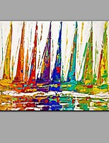 Hand-Painted Knife Sailboat Oil Painting Wall Art With Stretcher Frame Ready To Hang