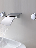 Modern Style Waterfall Two Handles Three Holes for  Chrome  Bathroom Basin Sink Faucet