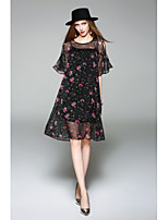 WHALE STUDIO Women's Casual/Daily Cute Chiffon DressFloral Round Neck Knee-length Half Sleeve Polyester Spring Summer Mid Rise Micro-elastic Medium