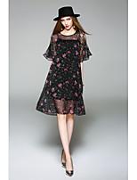 Для женщин На каждый день Очаровательный Шифон Платье Цветочный принт,Круглый вырез До колена Рукав до локтя Полиэстер Весна ЛетоСо