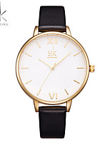 SK Women's Fashion Watch Wrist watch Chinese Quartz Shock Resistant Large Dial PU Band Luxury Casual Black K0056L02