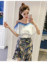 Women's Daily Casual Casual Summer T-shirt Skirt Suits,Solid Floral Bateau 1/2 Length Sleeve Inelastic