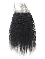 Afro Kinky Curly 5x5inch Lace Closure Human  Hair Top  Lace Closure with Baby Hair