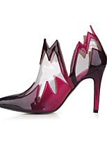Women's Heels Bootie PU Spring Fall Wedding Party & Evening Dress Bootie Black/Red Blue Black 4in-4 3/4in