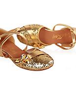 Women's Latin Paillette PU Flats Heels Practice Gold