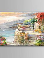 Peint à la main Paysage Format Horizontal,Moderne/Contemporain Un Panneau Toile Peinture à l'huile Hang-peint For Décoration d'intérieur