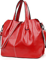 Women Tote Cowhide All Seasons Casual Outdoor Round Zipper Red Black