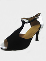 Women's Latin Flocking Sandals Performance Buckle Stiletto Heel Black/Silver 3
