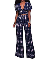 Women's Casual/Daily Casual Summer Tank Top Pant Suits,Print Deep V Short Sleeve Inelastic