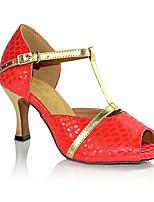 Для женщин Латина Искусственная кожа Сандалии Концертная обувь Крест-накрест На шпильке Черный Красный 7,5 - 9,5 см Персонализируемая