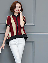 Women's Daily Casual Sexy Simple Cute Spring Summer Blouse,Striped Color Block Round Neck Short Sleeve Cotton Polyester