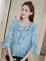 Women's Casual/Daily Simple Blouse,Floral V Neck 3/4 Length Sleeve Polyester
