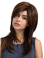 Mature Woman Mixed Color Natural Long Straight Hair Synthetic Wig