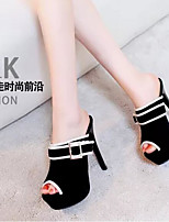 Women's Shoes PU Spring Comfort Heels For Casual Black Red Blue
