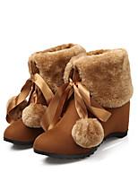 Damen Schuhe Beflockung Herbst Winter Schneestiefel Stiefel Keilabsatz Runde Zehe Mittelhohe Stiefel Für Normal Schwarz Gelb Mandelfarben
