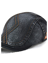 Unisex Cotton Beret Hat Casual Outdoor Sports Solid All Seasons Pure Color Striped Adjustable Newsboy Cabbie Gatsby Golf Hat Cap Black/Grey/Beige/Blue