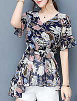 Women's Going out Casual/Daily Sexy Street chic Spring Summer Blouse,Print V Neck Short Sleeve Polyester Medium