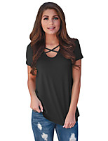 Women's Daily Casual Simple Summer T-shirt,Color Block Round Neck Short Sleeve Polyester Spandex Medium