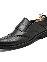 Для мужчин обувь Кожа Весна Лето Удобная обувь Туфли на шнуровке Назначение Повседневные Черный Коричневый Синий