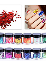 12PCS Crystal Grooming Nail Salon Tool Nail Art Jewelry Diamond Sequin 10G Bottle DIY Art Nail Stickers