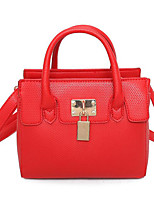 Women Shoulder Bag PU All Seasons Casual Outdoor Square Clasp Lock Blushing Pink Red Black