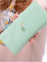 Women Checkbook Wallet PU All Seasons Casual Square Zipper Cyan Maroon Azure