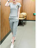 Для женщин Повседневные Лето Как у футболки Брюки Костюмы Круглый вырез,На каждый день Активный Однотонный Вышивка С короткими рукавами