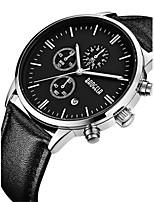 Men's Sport Watch Skeleton Watch Fashion Watch Wrist watch Quartz Calendar Water Resistant / Water Proof Genuine Leather Band Skull Black