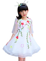 Girl's Fashion Print Flower Dress,Cotton Polester/Cotton Blend Summer Half Sleeve