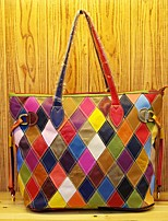 Women Shoulder Bag Cowhide All Seasons Casual Rectangle Split Joint Plaid Zipper Rainbow