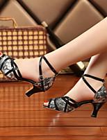 Women's Dance Sneakers PU Sandals Sneakers Indoor Chunky Heel Ruby Gray Gold 2