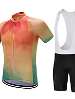 FUALRNY Sports Cycling Jersey with Bib Shorts Men's Short Sleeve Bike Breathable / Quick Dry / Moisture Permeability / 3D Pad / Reduces Chafing