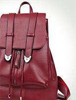 Women Backpack PU All Seasons Casual Round Zipper Red Black Blue