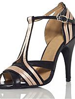 Women's Latin Silk Leatherette Sandals Performance Splicing Stiletto Heel Black 3