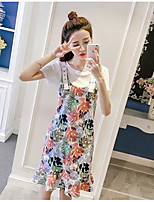 Women's Other Daily Casual Pattern Sweet Summer T-shirt Dress Suits,Solid Floral Round Neck Short Sleeve Printing