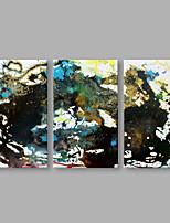 Ручная роспись Абстракция Горизонтальная,Художественный 3 панели Холст Hang-роспись маслом For Украшение дома
