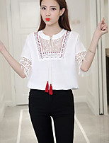 Women's Casual/Daily Simple Summer Blouse,Solid Round Neck Short Sleeve Cotton