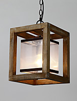 Одиночная головка марочное живопись функция мини стиль дерева / бамбука со стеклянной люстрой лампа для входа / гостиной / детская комната