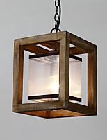 Única cabeça vintage pintura característica mini estilo madeira / bambu com lâmpada de lustre de vidro para a entrada / sala de estar /