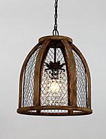 Seule tête peinture vintage caractéristique mini style bois / bambou avec lampe à chandelier en verre pour la salle d'entrée / salon /