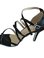 Women's Latin Satin Sandals  Customized Heel Black Latin Salsa Indoor Dancing Shoes