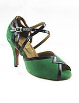 Women's Latin Flocking Sandals Performance Criss-Cross Stiletto Heel Green/Black 3
