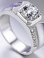 Homme Bague Imitation de diamant Basique Original Argent sterling Alliage Forme d'Etoile Bijoux Pour Mariage Saint Valentin