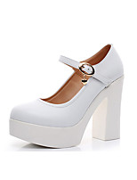 Women's Heels Formal Shoes Spring Fall Synthetic Microfiber PU Wedding Dress Party & Evening Office & Career Buckle Chunky Heel White