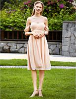 LAN TING BRIDE באורך  הברך לב (סוויטהארט) שמלה לשושבינה  - קצר סקסית ריץ' רץ' ללא שרוולים שיפון