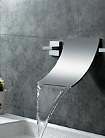 Contemporary Modern Style Widespread Waterfall Two Handles Three Holes for  Chrome  Bathroom Basin Sink Faucet