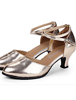 Women's Latin Cowhide Heels Practice Ruby Silver Gold